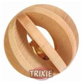 Bola madera c/ cascabel, para roer, ø6 cm